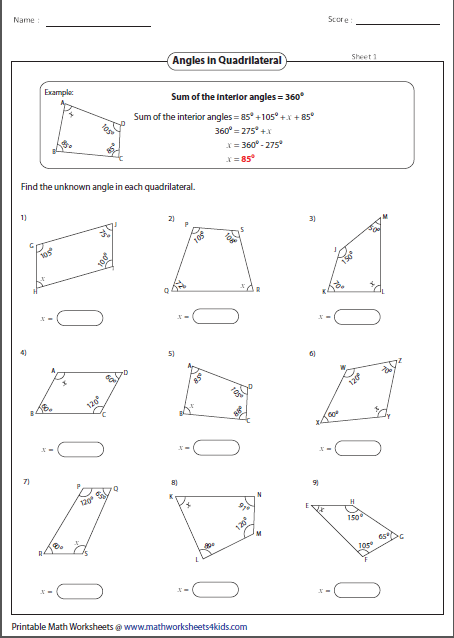 Missing Angles In A Quadrilateral Quadrilaterals Worksheet Angles Worksheet Quadrilaterals