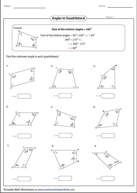 missing angles in a quadrilateral geometry worksheets pinterest geometry worksheets. Black Bedroom Furniture Sets. Home Design Ideas