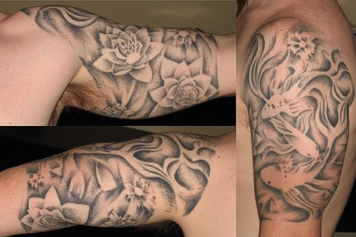 Fish And Lotus Half Sleeve Tattoos Pinterest Tattoos For Guys