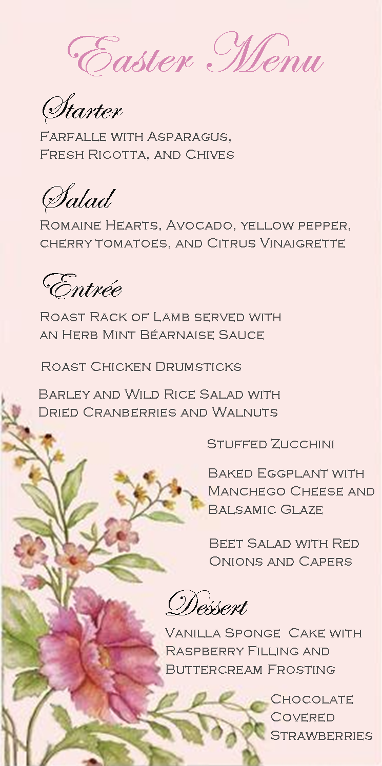 easter dinner party | menu | spring menu design | it's what's for
