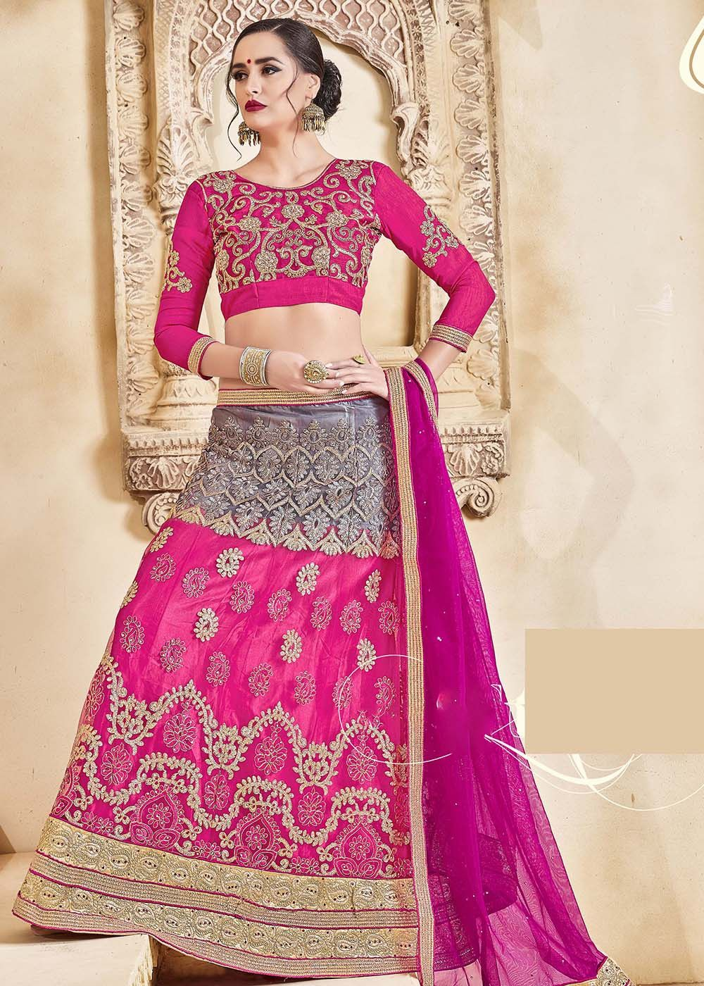 b5b4f2466a Look stunning in this #pink #grey shaded art #silk #lehenga decked with  #zari, #resham #embroidery, lace and stone work.