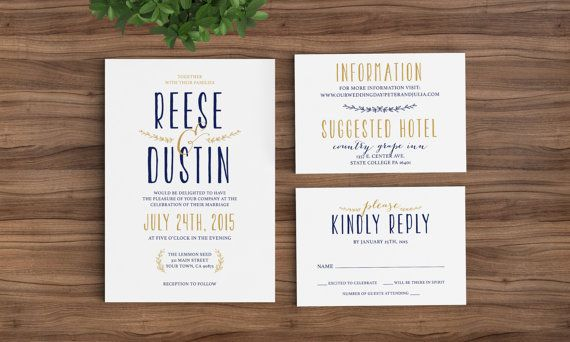 Wedding Invitation Template Classic Modern - Rustic, Simpe, Rsvp - professional invitation template