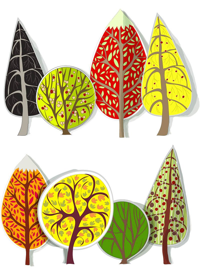 Set of 8 vector cartoon fall trees templates with yellow leaves for your stylized illustrations, decorations, banners, cards and fall backgrounds. Format: EPS, Ai stock vector clip art and illustrations. Free for download. Set name: