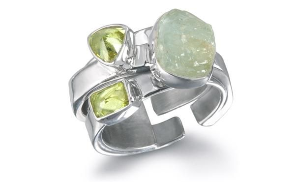 Raw Aquamarine Stone and Faceted Lime CZ set in a Polished Sterling Silver Ring #Lilly Barrack