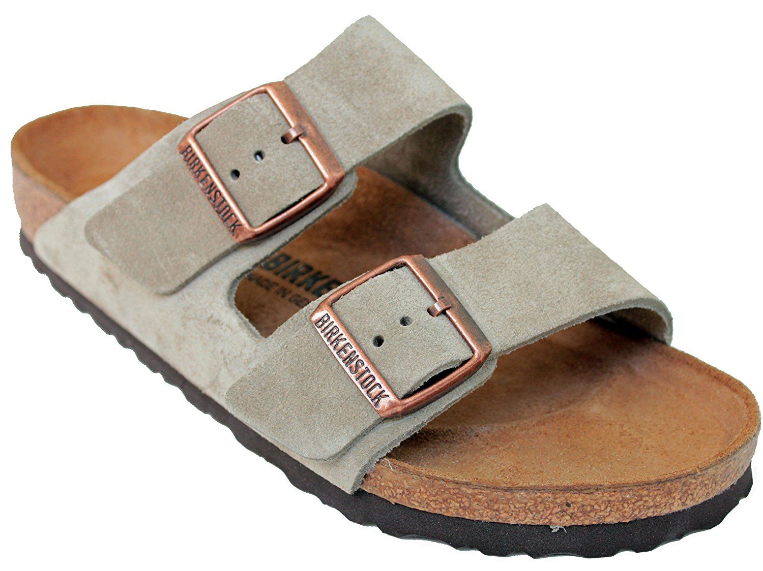 Birkenstock Arizona 2 Strap Suede Leather Sandals, Taupe