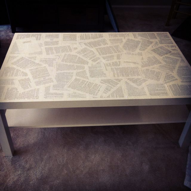 Decoupaged IKEA Coffee Table With Pages From One Of My