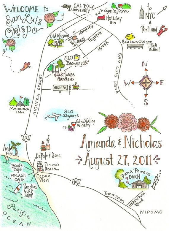 Custom Wedding Map By Elizajaneink On Etsy