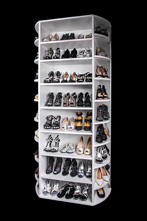 Four Sided Rotating Shoe Storage Organizer By Lazy Lee Shoe Organization Closet Shoe Rack Closet Closet Shoe Storage