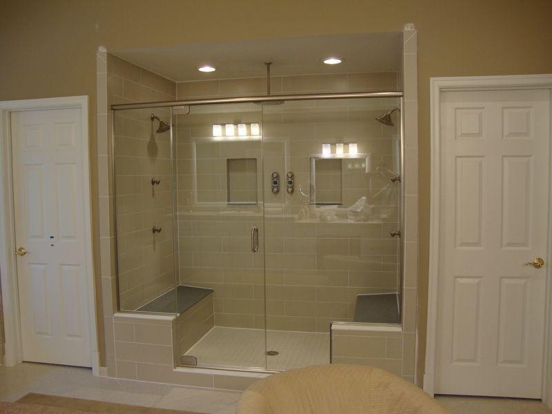 images of heavy shower doors | Panel-Door-Panel Frameless Shower ...