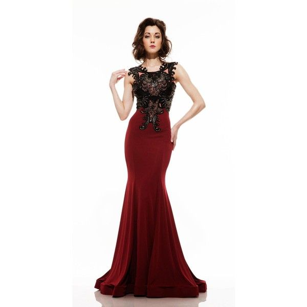 Johnathan Kayne 6044 Evening Dress Long High Neckline Sleeveless ($730) ❤ liked on Polyvore featuring dresses, cranberry, formal dresses, sleeveless long dress, long dresses, white high neck dress, white dress and formal wear dresses
