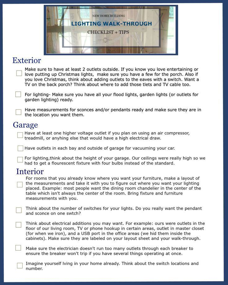 new home building lighting walk through checklist tips household goods checklist electrical plan checklist #4