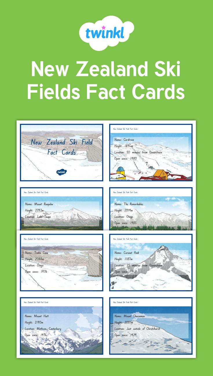 Ski Fields Fact Cards (With images) Science topics