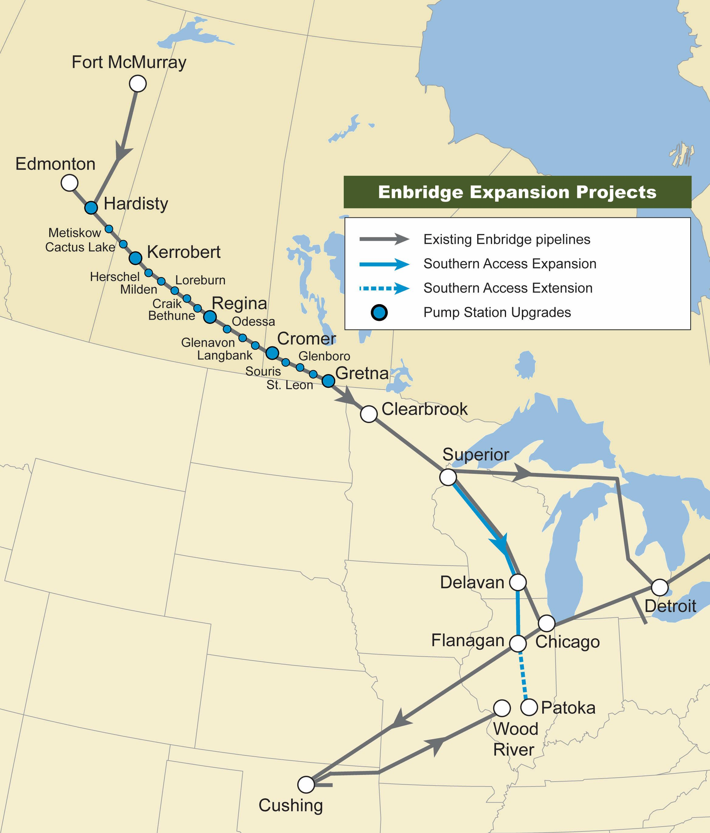 Enbridge Extensions To Alberta Clipper 18 Pipeline