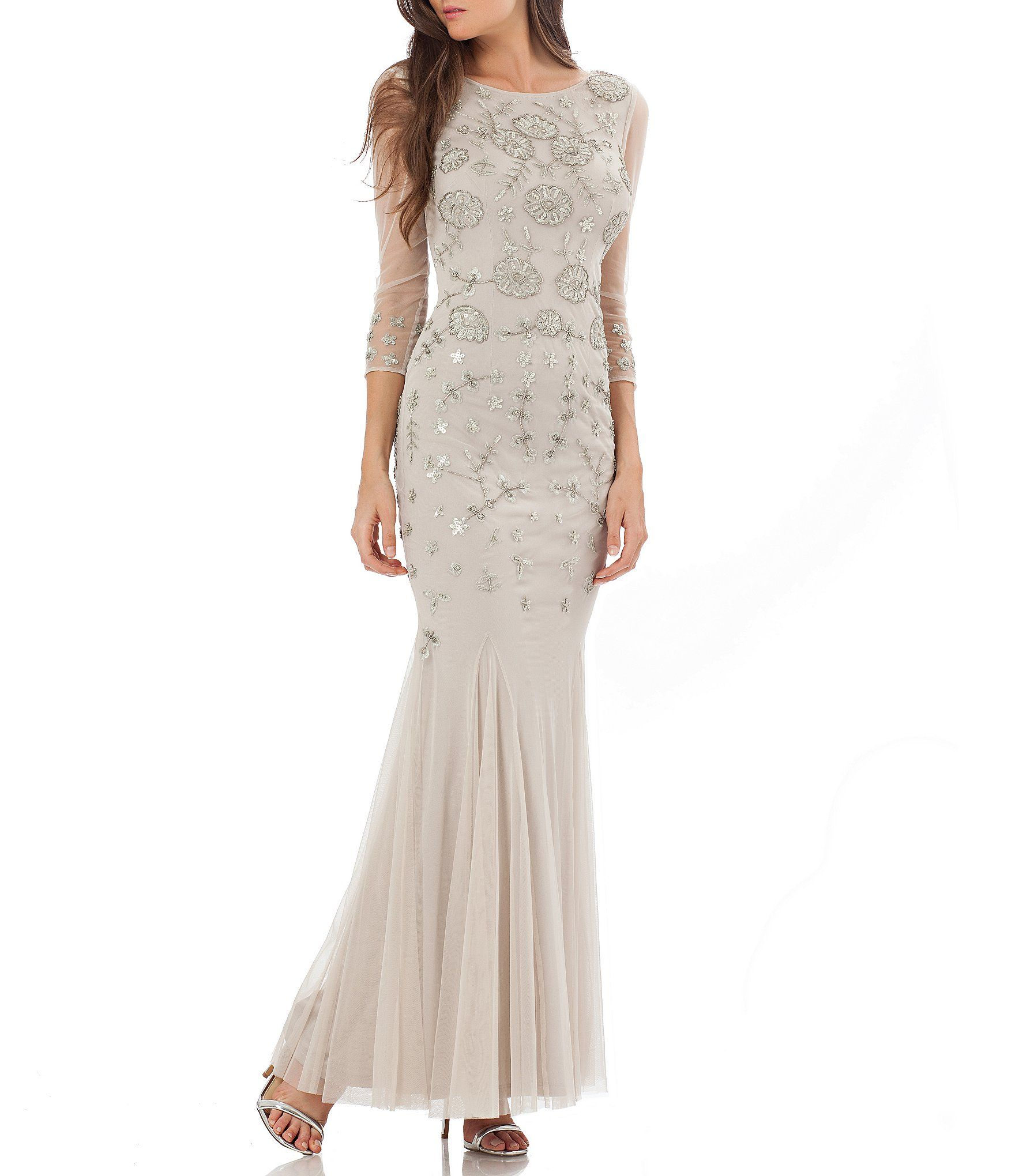 JS Collections Embroidered Beaded 3/4 Sleeve Gown | Dillards, Gowns ...