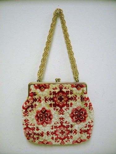 1960s Red and Camel Geometric Print Tapestry Handbag.