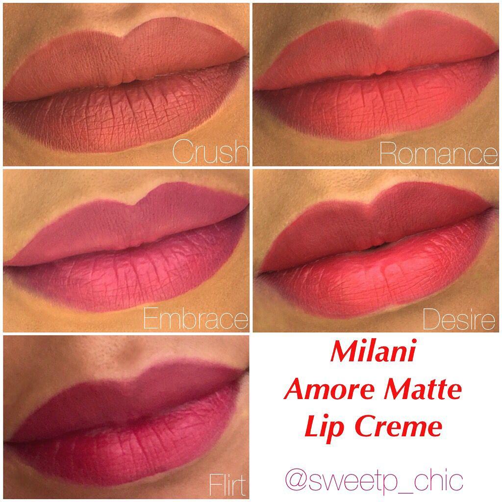 Milani Amore Matte Lip Creme - Liquid Lipsticks - Swatches on ...