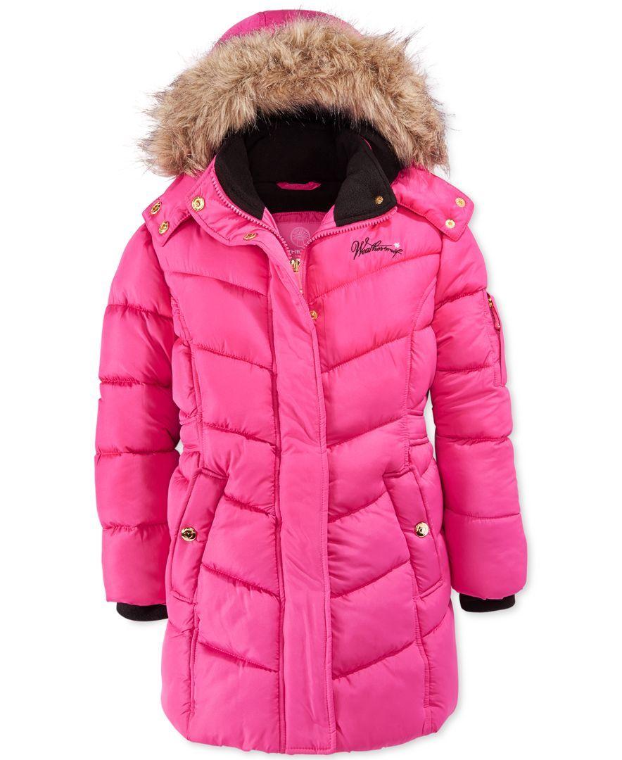 Weatherproof Little Girls Hooded Coat With Faux Fur Trim Kids Baby Macy S Hooded Coat Toddler Winter Jackets Fur Trim [ 1080 x 884 Pixel ]