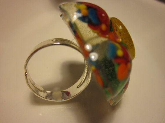 Ring  Flower filled with REAL Rainbow Sprinkles by HenDuckMeow, $5.00