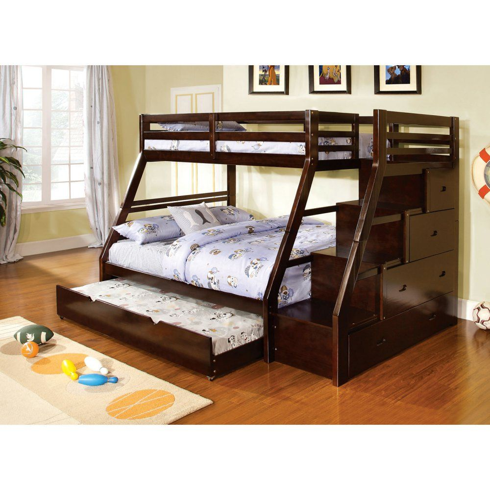 Twin loft bed with stairs and storage  Furniture of America Milton Twin over Full Bunk Bed with Storage