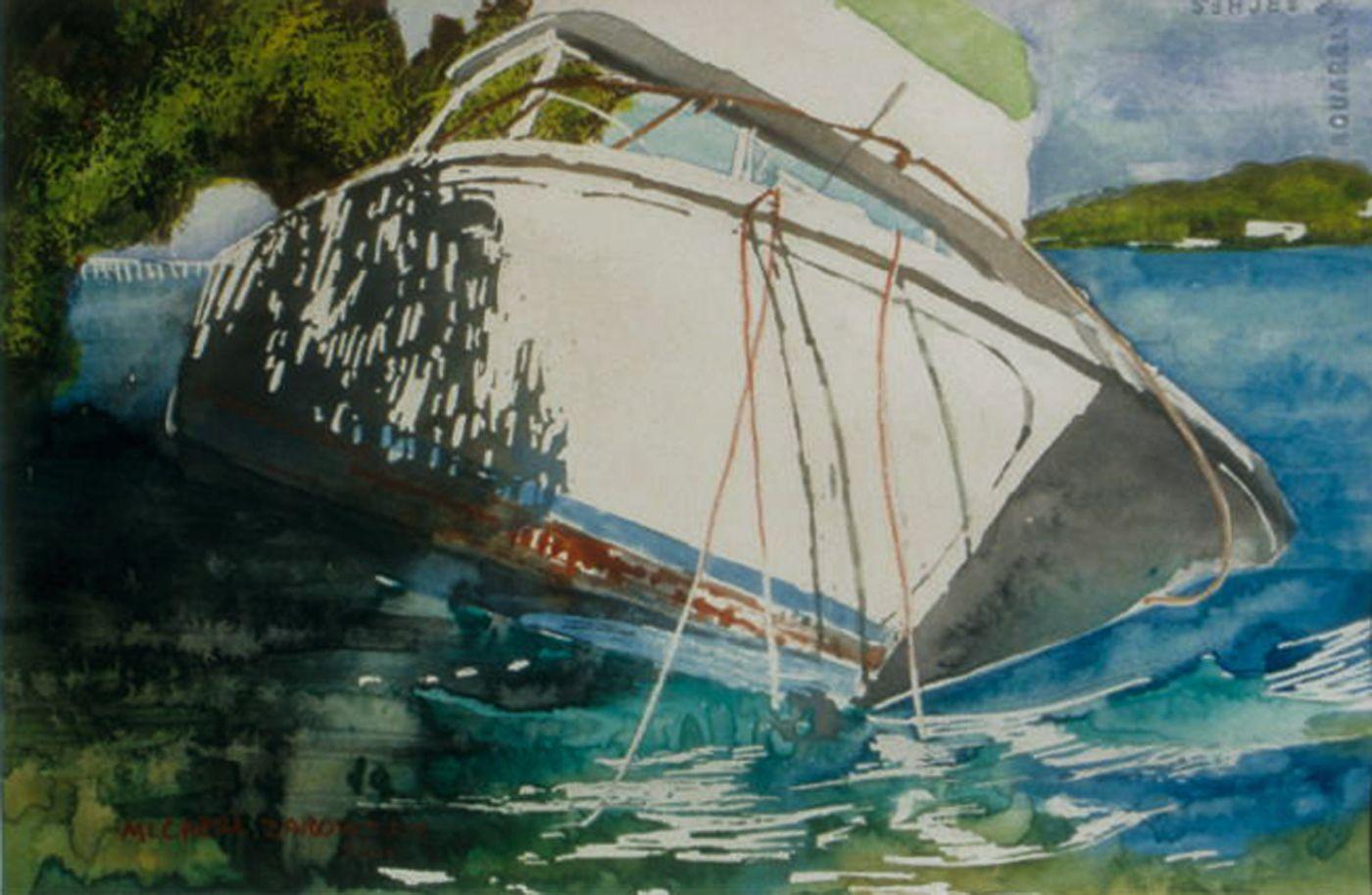 Micheal Zarowsky Half Sunk 2 Beef Island Bvi 10 X 16