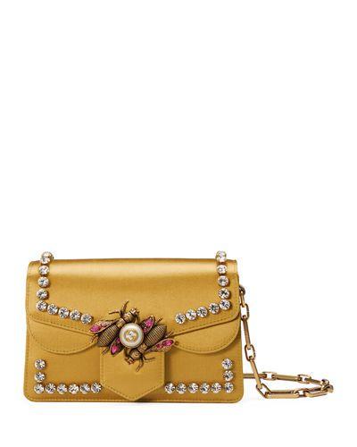 1050a80d7a0 GUCCI BROADWAY SATIN BEE SHOULDER BAG.  gucci  bags  shoulder bags  leather