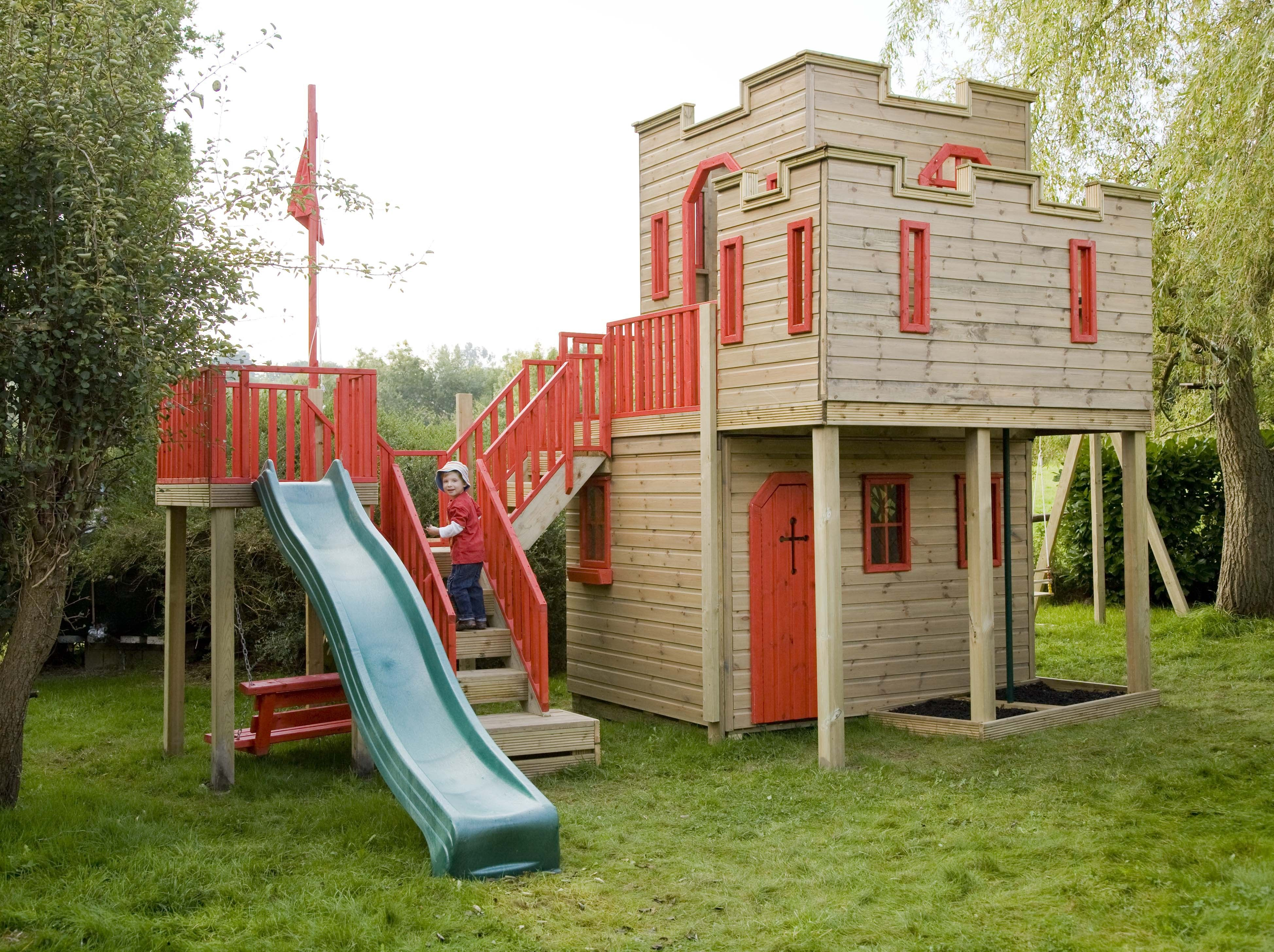 ideas designoutdoor castle playhouse with red the goods castle outdoor playhouse - Playhouse Designs And Ideas