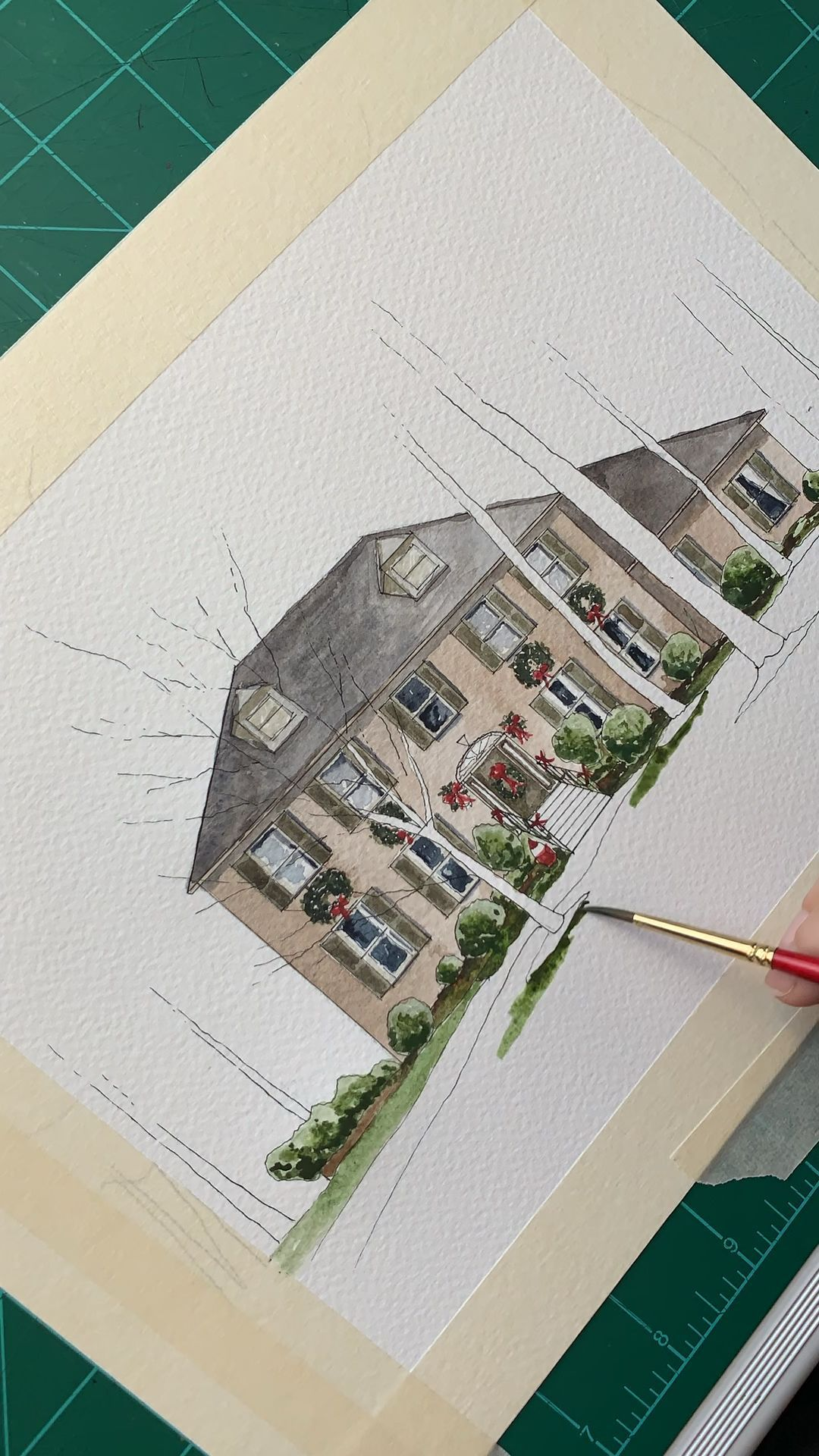 Custom Watercolor Home Portrait by Amanda Harrison Design