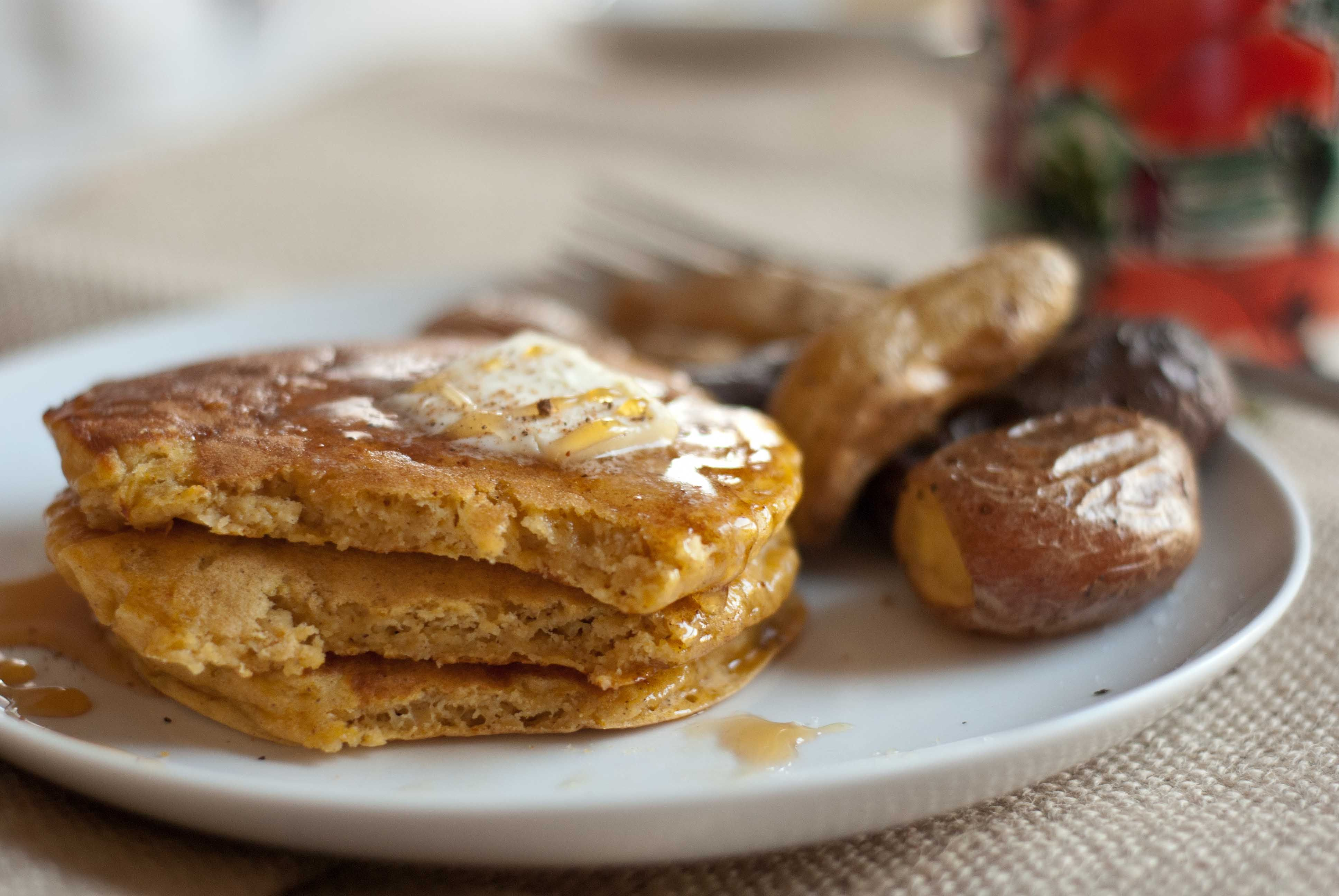 Whole Wheat Pumpkin Pancakes Cookie And Kate Recipe Pumpkin Pancakes Banana Oat Pancakes Food