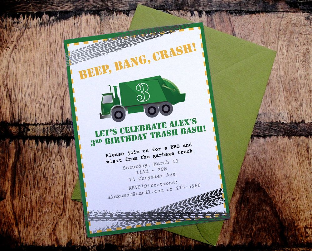 Printable Garbage Truck Birthday Party Invitation by fullydesigned – Garbage Truck Birthday Invitations