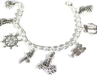 Love the beach! Beach themed silver alloy charms on a