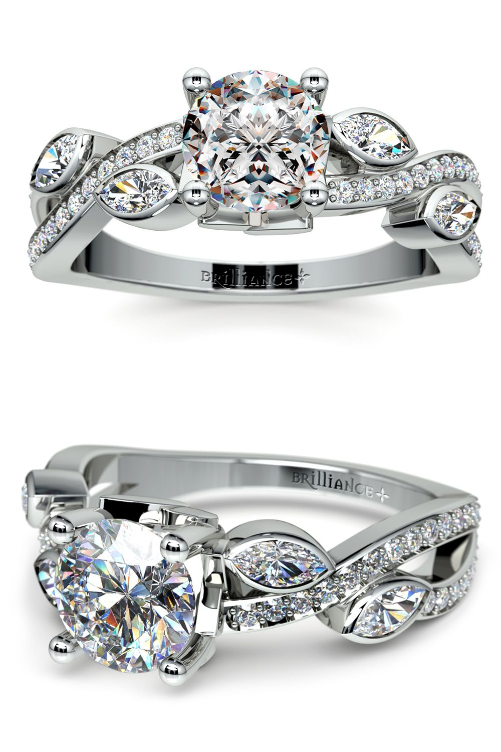 eb1c25955e9 Twisted Petal Diamond Engagement Ring in White Gold | jewelry ...