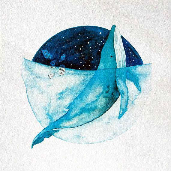 Ilustración de ballena de acuarela, impresión de ballena cósmica azul, acuarela de arte de cetáceos, ilustración de niños, arte de pared de decoración de vivero