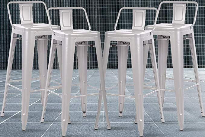 Industrial Bar Stools Metal Chairs Set Of 4 Counter Height Barstools