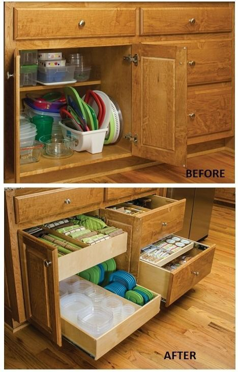 Organize Food Storage Containers   Pull Out Cabinet Organizers Keep All The  Lids And Containers