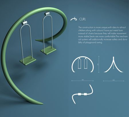 Curl Playground Swing Design To Attract Children To Play Outdoor