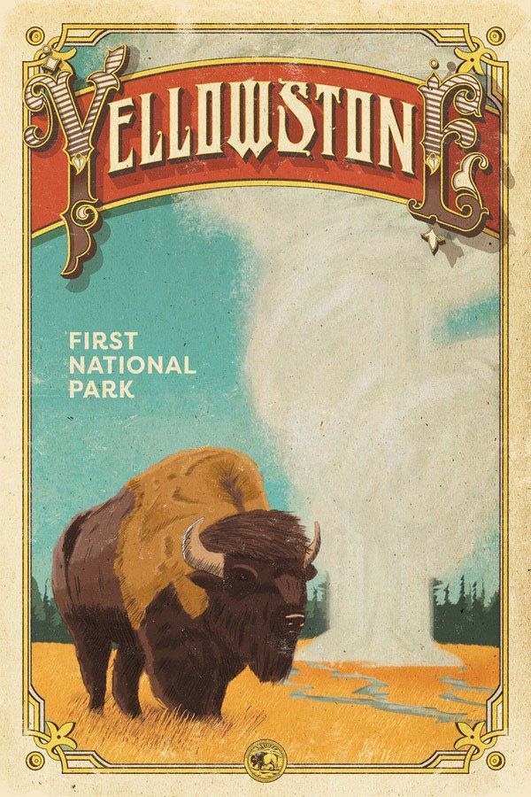 Yellowstone Poster Vintage Posters National Park Posters National Parks