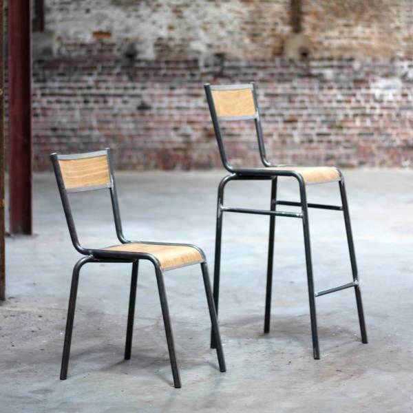 énorme réduction 3bfdc 62d94 Chaise de bar PILOT style rétro écolier   RDC - Tabourets de ...