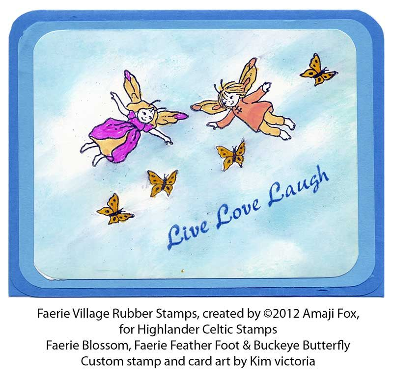 Sample card by Kim Victoria using two faeries from our collection - Sample Cards