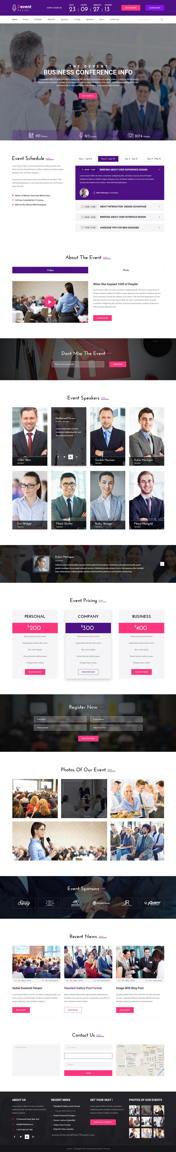Devent  Events  Conference Psd Template  Psd Templates