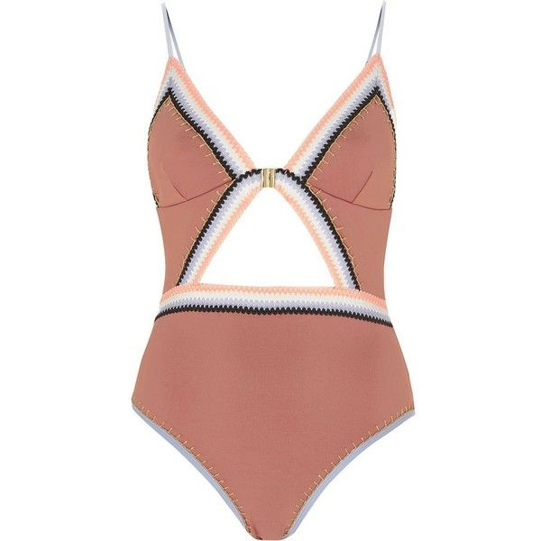 39fa3e9c9d2f4 River Island Light pink saddle stitch cut out swimsuit (€72) ❤ liked on  Polyvore featuring swimwear, one-piece swimsuits, swimsuit, pink, ...