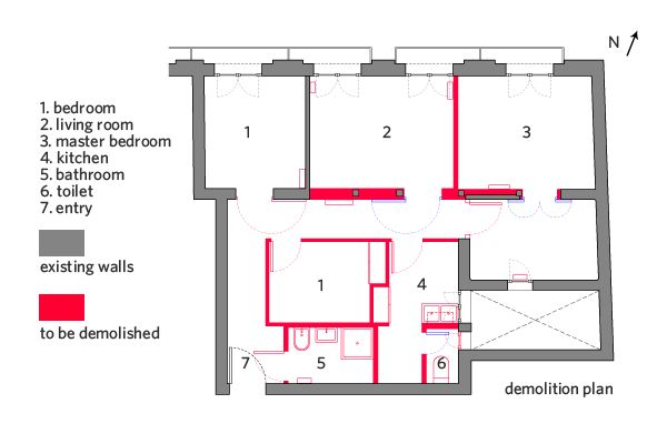 Building Demolition Drawing : La latina condo demolition plan all the red walls and