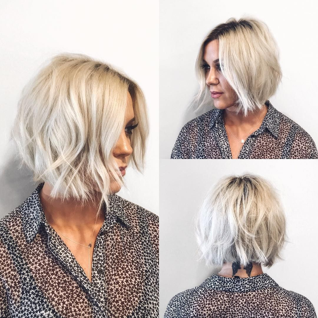 This Choppy Platinum Bob With Undone Texture And Shadow Roots Is A Great Modern Haircut For Someone Seeking A Hip Tre Roots Hair Short Blonde Hair Hair Styles