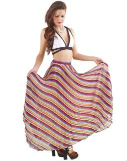 """This bright maxi with its graphic stripe pattern is definitely a showstopper. Flowy and lightweight yet fully lined, we love pairing it with an equally contrasted bralette or crop top. The colors scream summer, but it can transition into winter as well when matched with a black fitted sweater, booties and a leather bomber. Chic to the max!    By Soho Chick  100% Polyester  Imported    Model Info: Height: 5'9"""" 