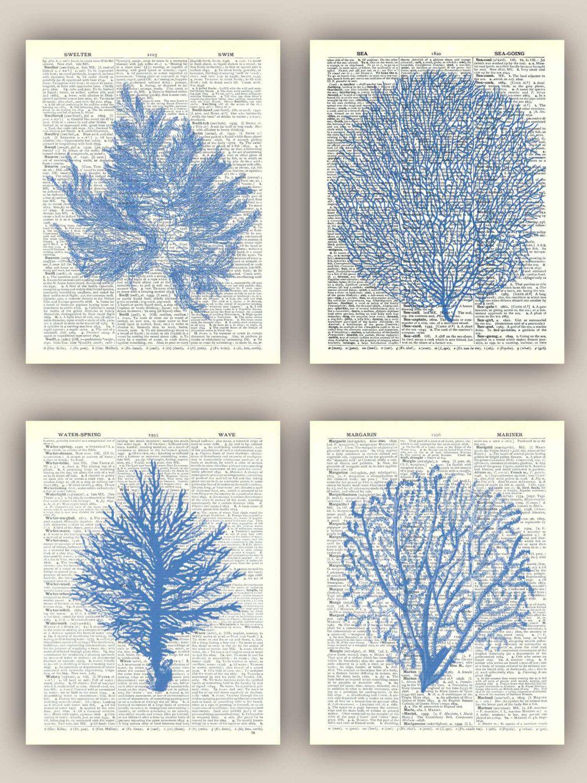 Sea fan art sea fan prints sea fan coral nautical prints