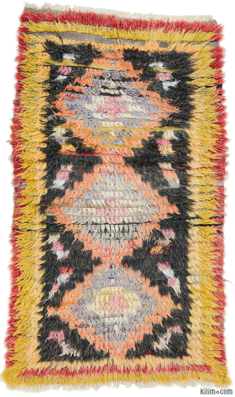 Vintage Turkish tulu rug around 50 years old in very good
