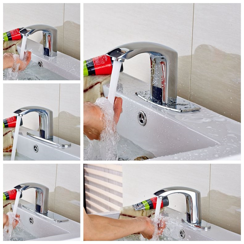 82.56$  Buy now - http://aligs5.worldwells.pw/go.php?t=32681538691 - Wholesale And Retail Brass Chrome Finish Automatic Sensor Tap Free Bathroom Free Handle Cold Faucet