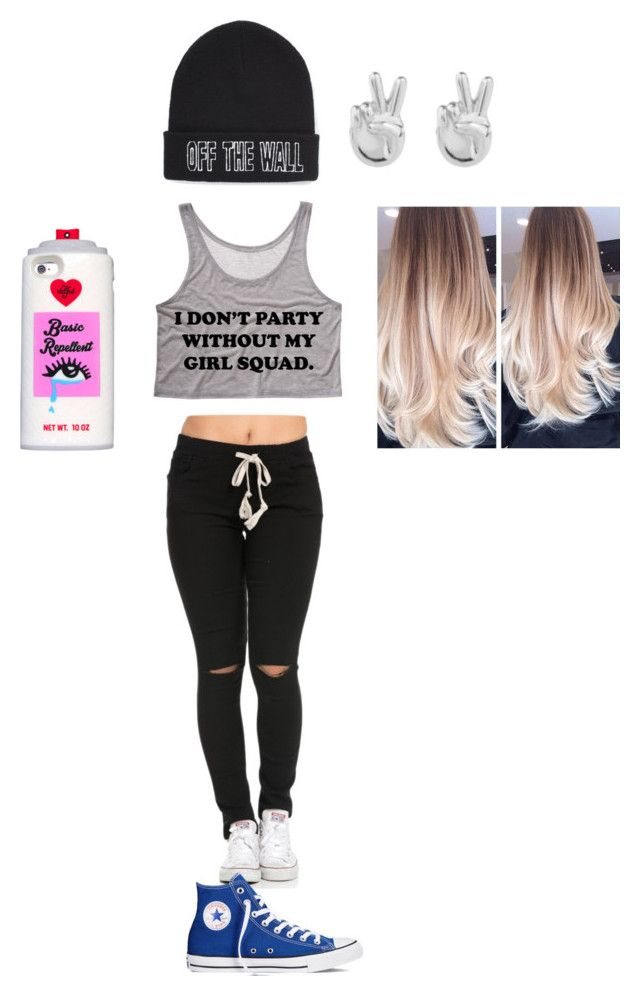 """""""Who's basic not me"""" by xxbeautysparkxx ❤ liked on Polyvore featuring Valfré, Converse, Rock 'N Rose and Vans"""