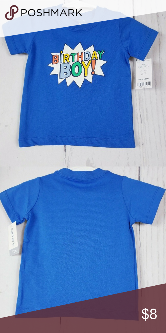 Carters Birthday Boy Shirt Blue Baby Size 12 Months