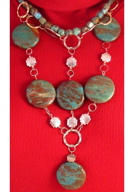 Blue Marbled Jasper Necklace   SOLD