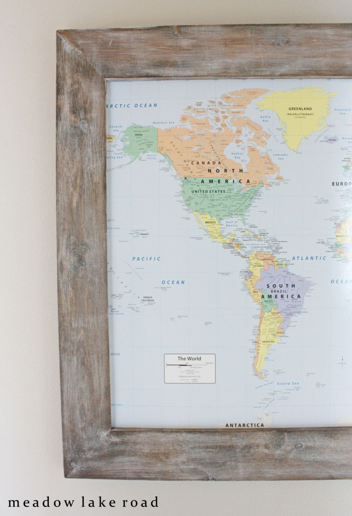 Diy rustic framed map framed maps glass and house framed world map in hallway gumiabroncs Gallery
